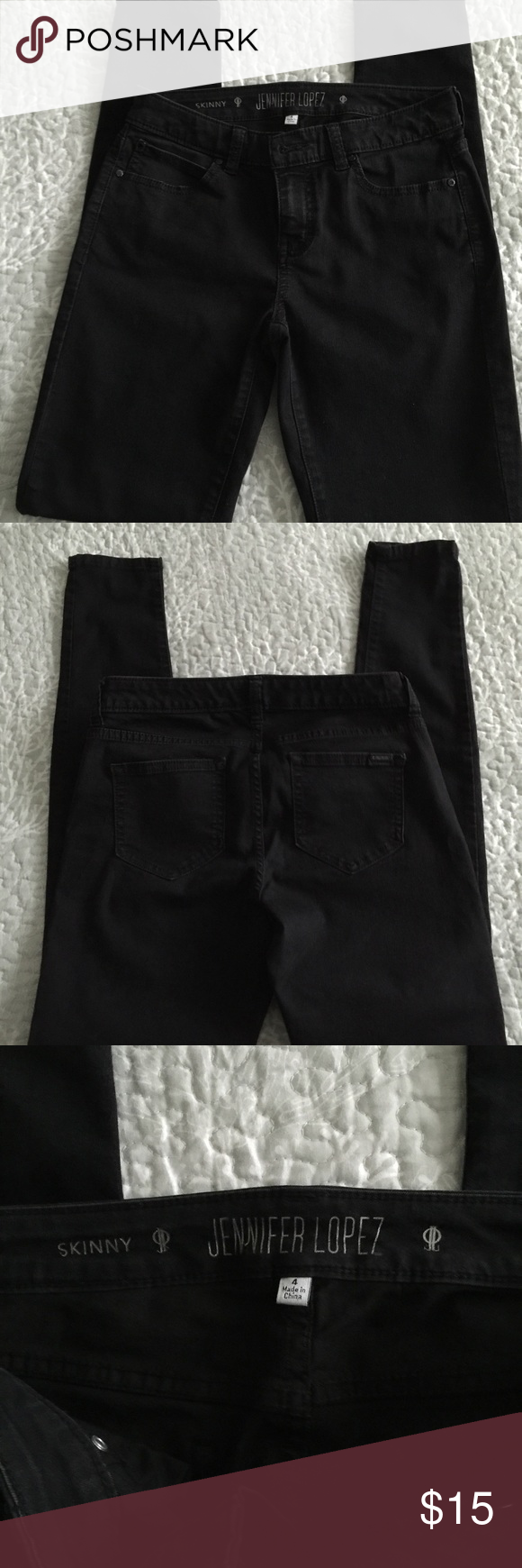 """Jennifer Lopez Skinny Jeans Like new-only worn a couple of times.  Approximate measurements (flat):  14 1/2"""", rise: 8"""", inseam: 30 1/2"""", ankle opening: 4 3/4"""" Jennifer Lopez Pants Skinny"""