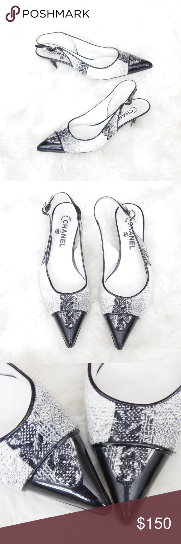 Chanel Vintage Tweed Kitten Heel Slingbacks Shoes Chanel Shoes Heels Vintage Chanel Kitten Heel Slingbacks