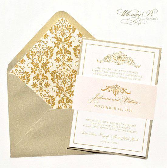 Elegant Wedding Invitation, Gold Wedding Invitation   Blush, Vintage, Victorian  Wedding Invitation Set, Custom Wedding Invitations