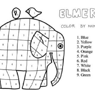 Elmer Color By Number Kleuren Met Nummers Olifanten Olifant Thema