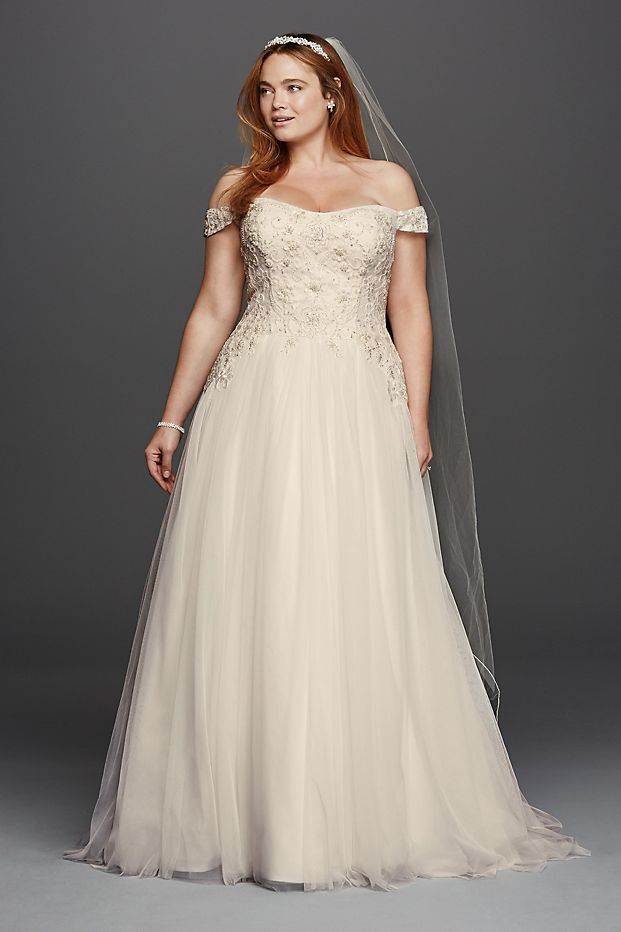 af8af1d00892f Off-the-shoulder swag sleeves add romance to this classic ball gown wedding  dress with a sweetheart neckline and scoop illusion back.