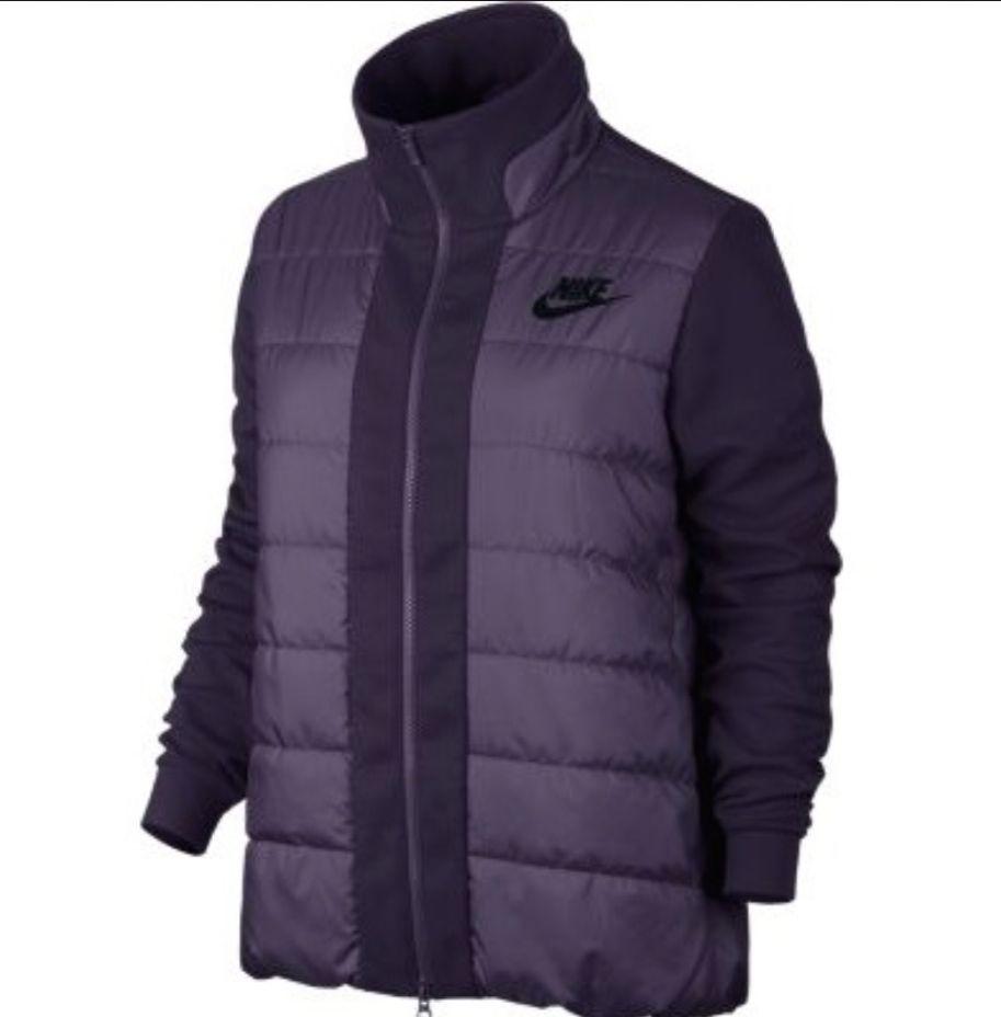 NWT Womens Nike NSW Purple Down Filled Tech Puffer Jacket