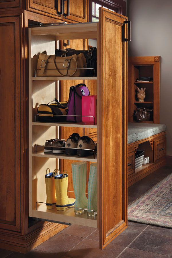 Tall Pantry Pullout Cabinet. Love the idea of storing shoes and purse inside!   Pantry cabinet. Kitchen pantry cabinets. Tall kitchen pantry cabinet