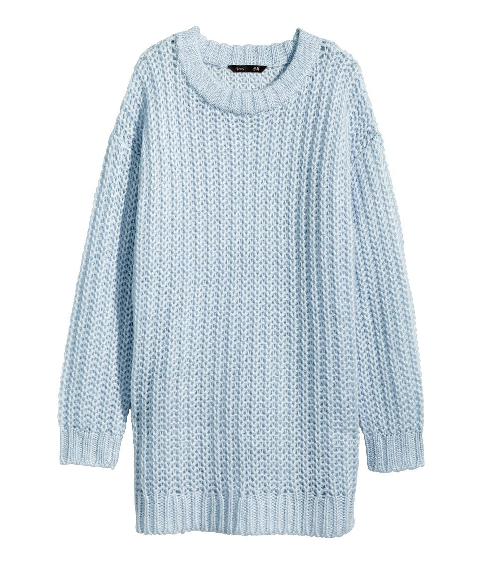 Long, soft, chunky-knit sweater in pastel blue. | H&M Pastels ...