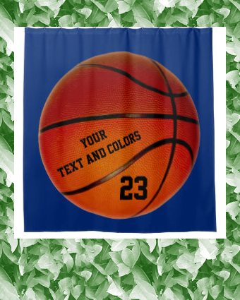 Personalized Basketball Shower Curtain Your Text Zazzle Com In