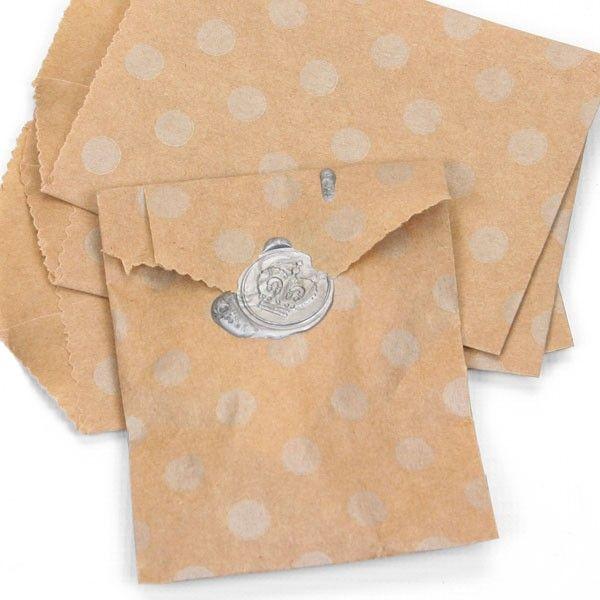 10 Mini Brown Silver Polka Dot Kraft Paper Bags