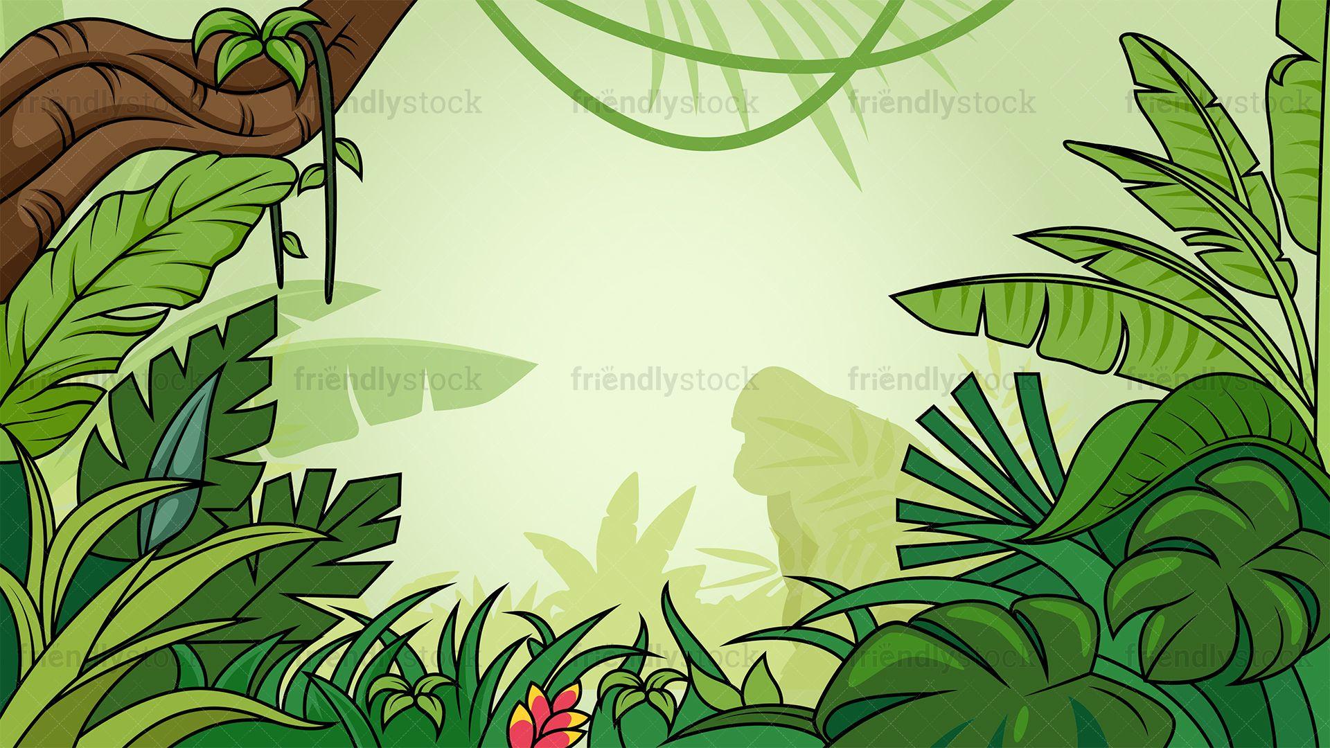 Background Cartoon Jungle Wallpaper