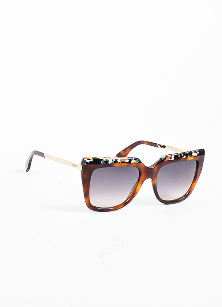 cb4fbfa2ac6bc Fendi Brown Tortoise Shell Confetti Design Square Frame Sunglasses ...