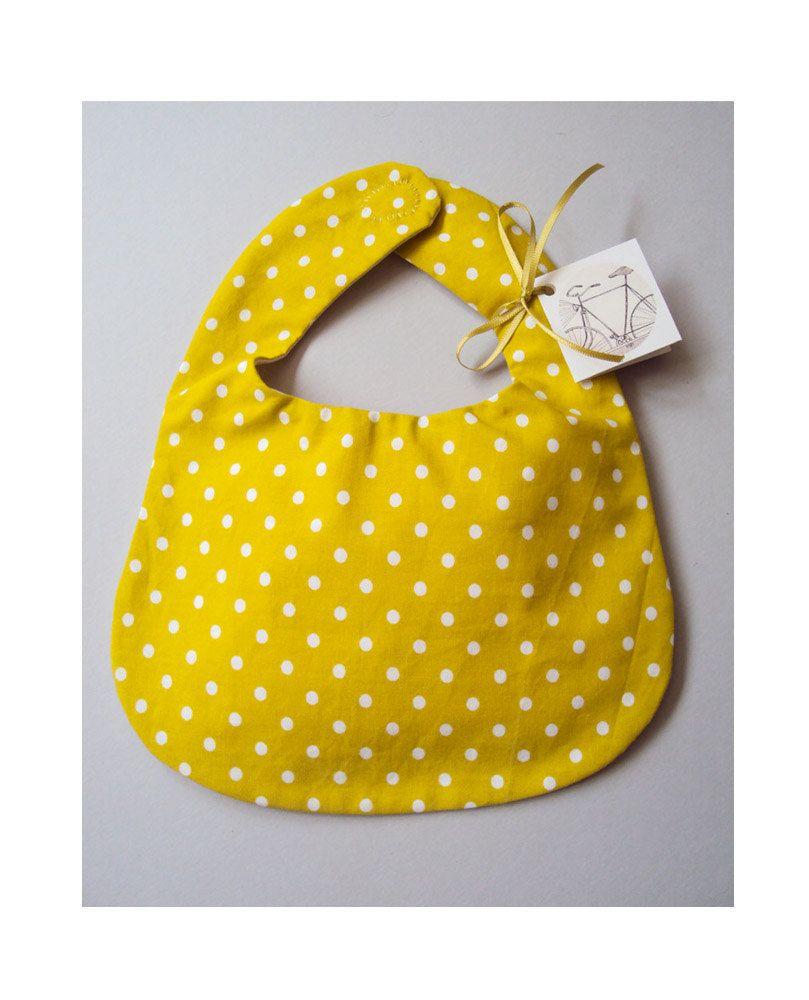 Baby Bib, organic cotton, mustard polka dot pattern