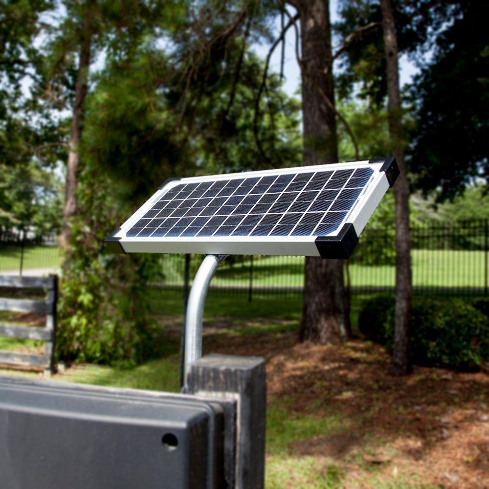 Mighty Mule 10 Watt Solar Panel Kit For Electric Gate Opener Fm123 The Home Depot Solar Panels Solar Panel Kits Best Solar Panels
