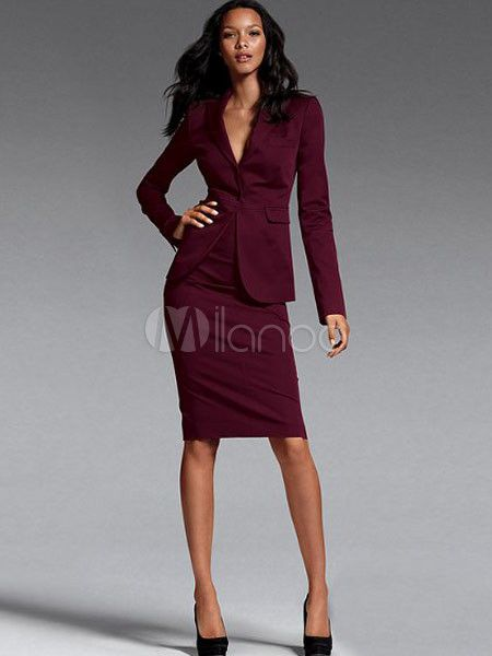 Burgundy Formal Serge Womenu0026#39;s Suit - Milanoo.com | Boss/CEO Style | Pinterest | Workwear Swag ...