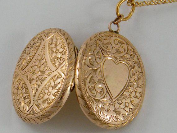 9K Vintage Antique Rose Gold Locket, Victorian Large Oval True Love Floral Motif Necklace