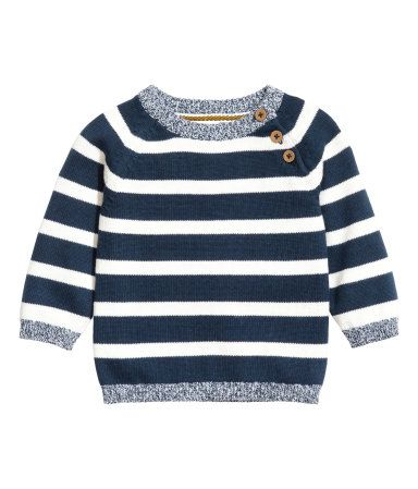 H M Dark blue striped. Fine-knit sweater in soft cotton with buttons on one  shoulder. 82d319cee