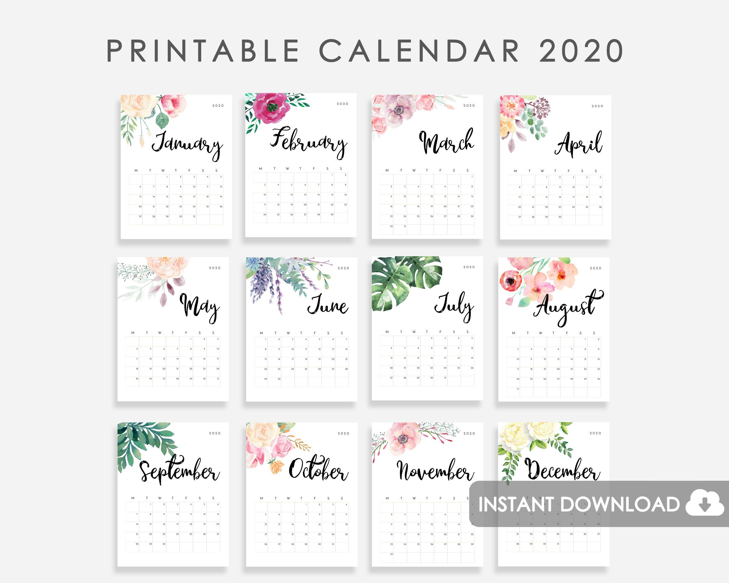 2020 Calendar Printable Desk Calendar 2020 2020 Wall Calendar Watercolor Flowers Calendar 2020 2020 Desk Calendar 2020 Calendarios Imprimibles Calendario Para Imprimir Gratis Ideas De Calendario
