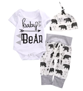 Infant Newborn Baby Boys Girls Clothes Baby Bear Pattern Long Sleeve Romper Bodysuit+Pants Hat 3pcs Outfit Set