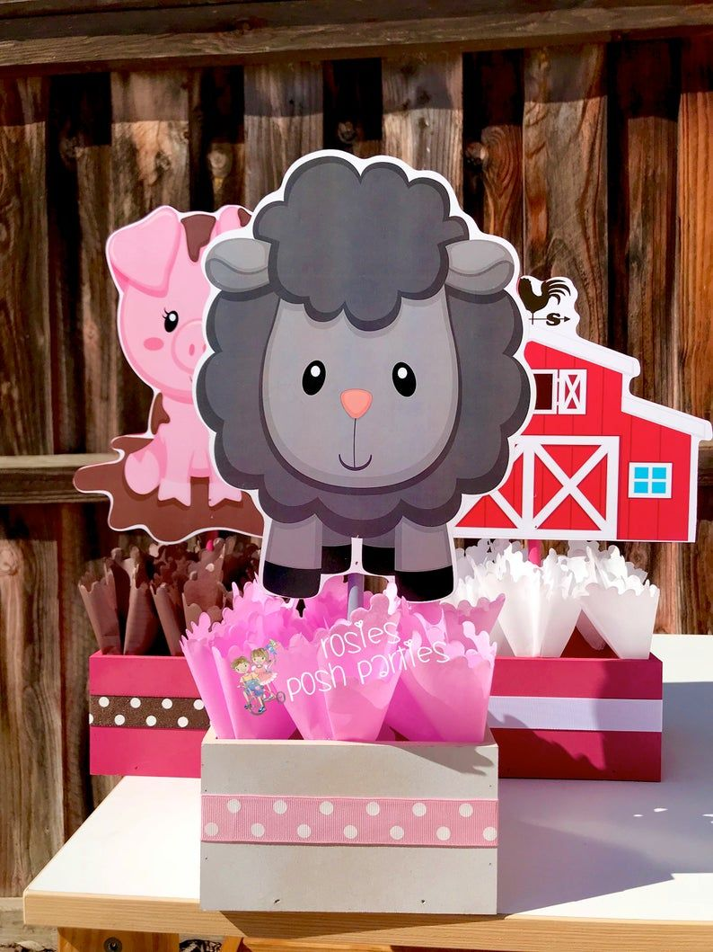 Pink Farm birthday theme party wood guest table