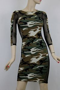 691ab3ad5fe28 Army Fatigue Dresses for Women | ... Military Fatigue Camouflage Mesh  Contrast MIDI Fitted Body Con Dress