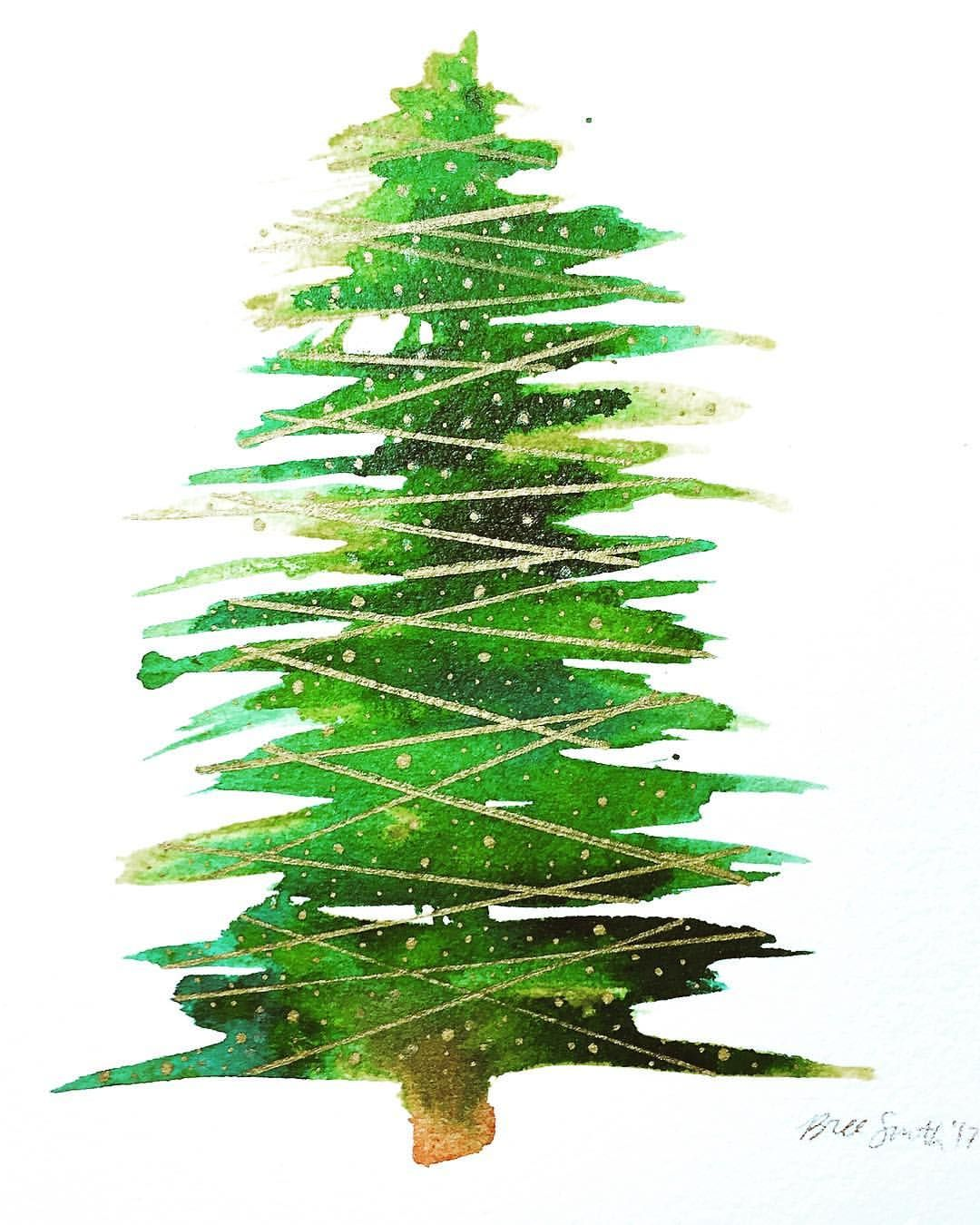 Christmas Tree Watercolor Paintings Google Search Avec Images