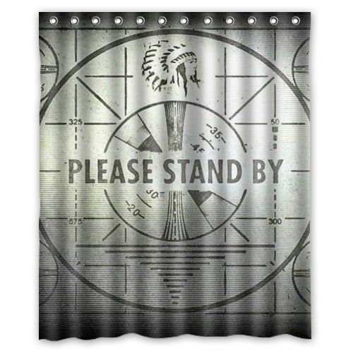 HANLU Custom FALLOUT Waterproof Polyester Fabric Shower Curtain 60 X 72