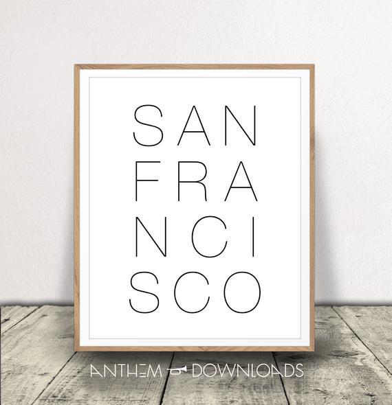San Francisco Art Print Black and White Print San Francisco | Etsy