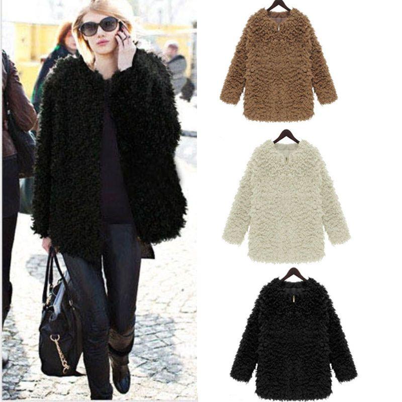 Women Winter Fluffy Shaggy Coat Jacket Curly Faux Fur Crew-Neck ...