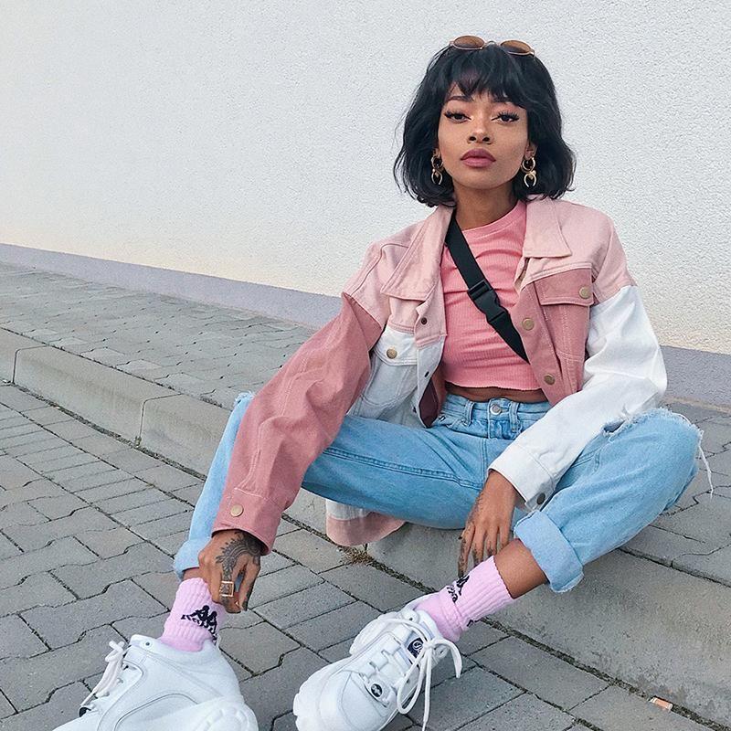 Short top pink knitwear harajuku short top pink knitwear