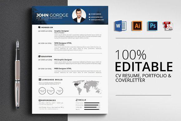 CV Resume, Cover Letter , Portfolio by Design Up on @creativemarket
