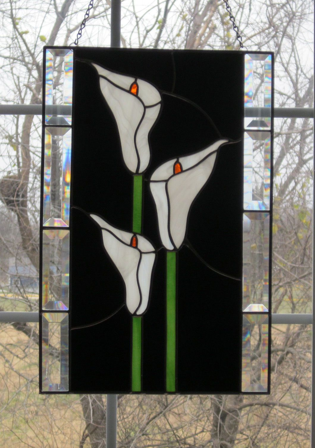 Calla Lilies Stained Glass Window Panel | eBay