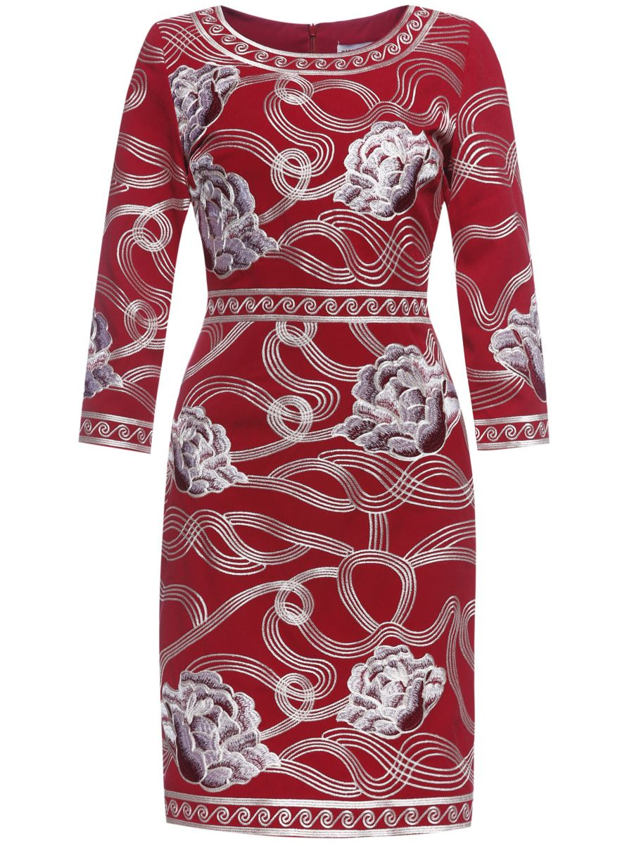 Image of Red Flowers Embroidered Sheath Dress