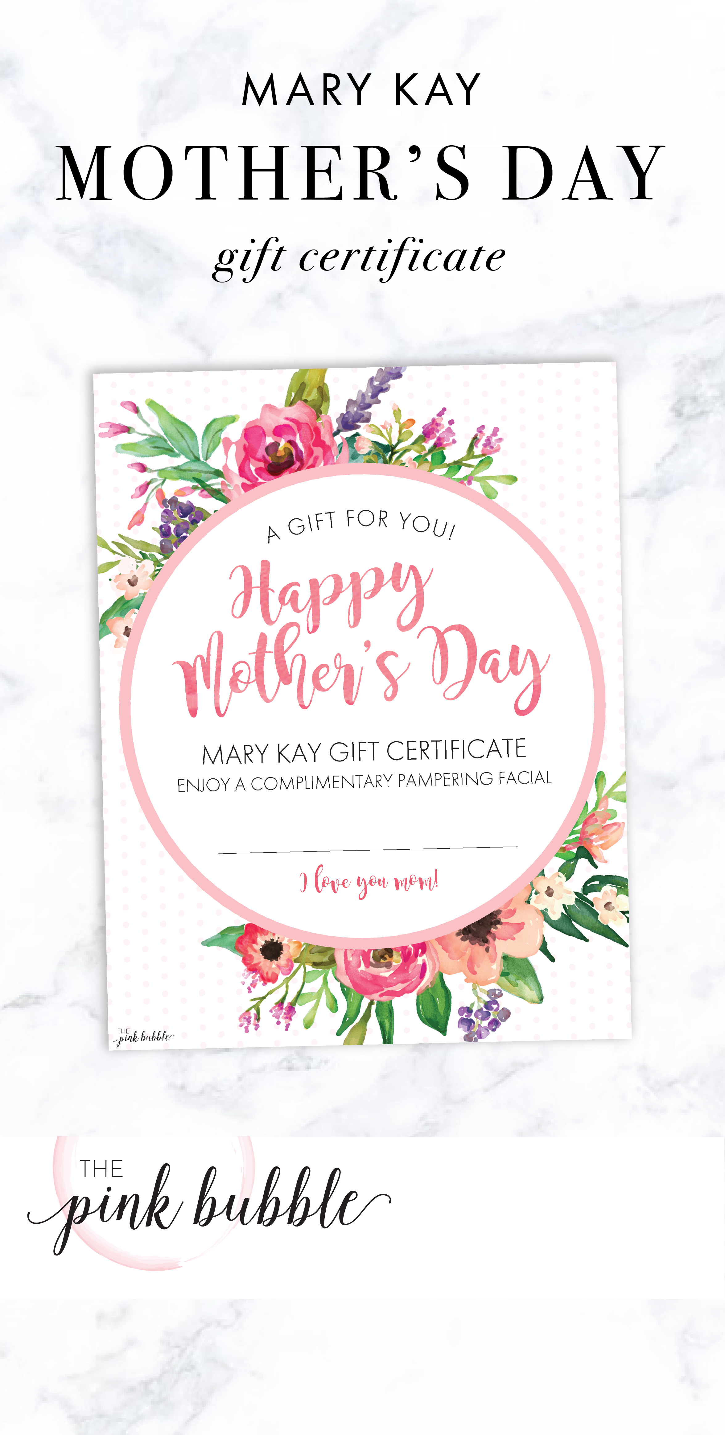 Mary Kay Mother S Day Gift Certificate Find It Only At Www Thepinkbubble Co Mary Kay Gift Certificates Mary Kay Gift Certificate Template Mary Kay Gifts