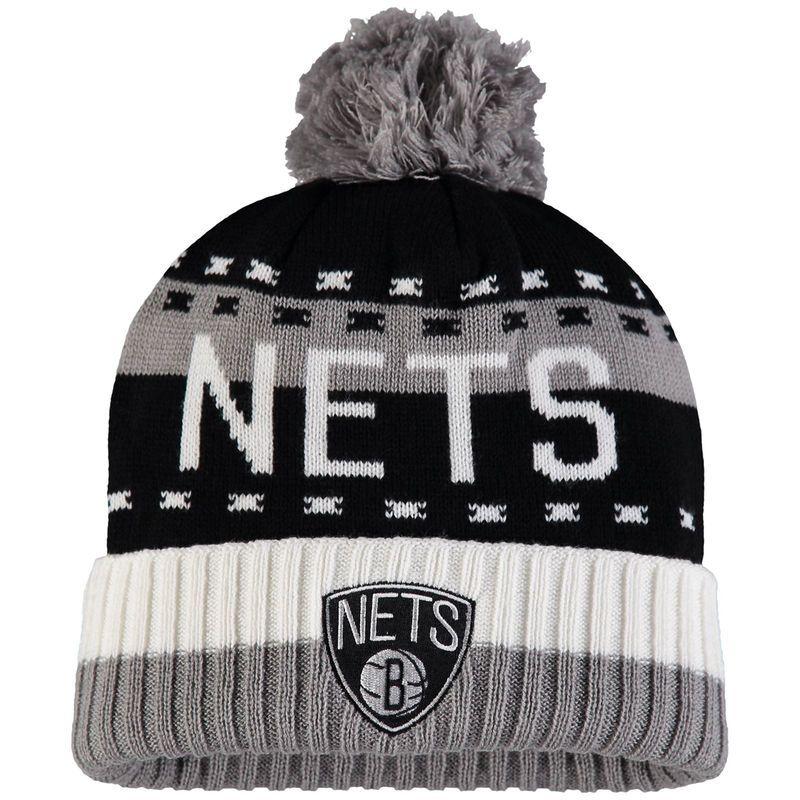 66a462dd1f9 Brooklyn Nets adidas Stripe Cuffed Knit Hat with Pom - Black Gray ...