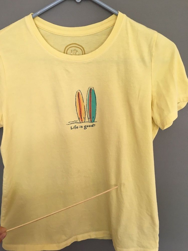 f64288cb6763 Life is Good Women's size S Short Sleeve T-shirt Surf Yellow Tee Shirt  Cotton d #LifeisGood #TShirt