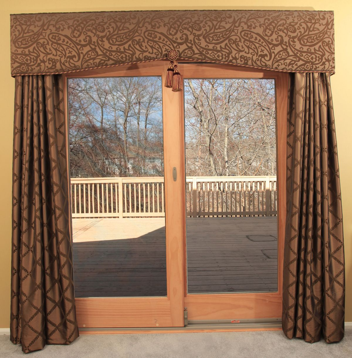 Best curtains for sliding glass doors - Patio Door Cornice And Drapery Traditional Curtains Newark Marina Klima Goldberg Klima Design Group