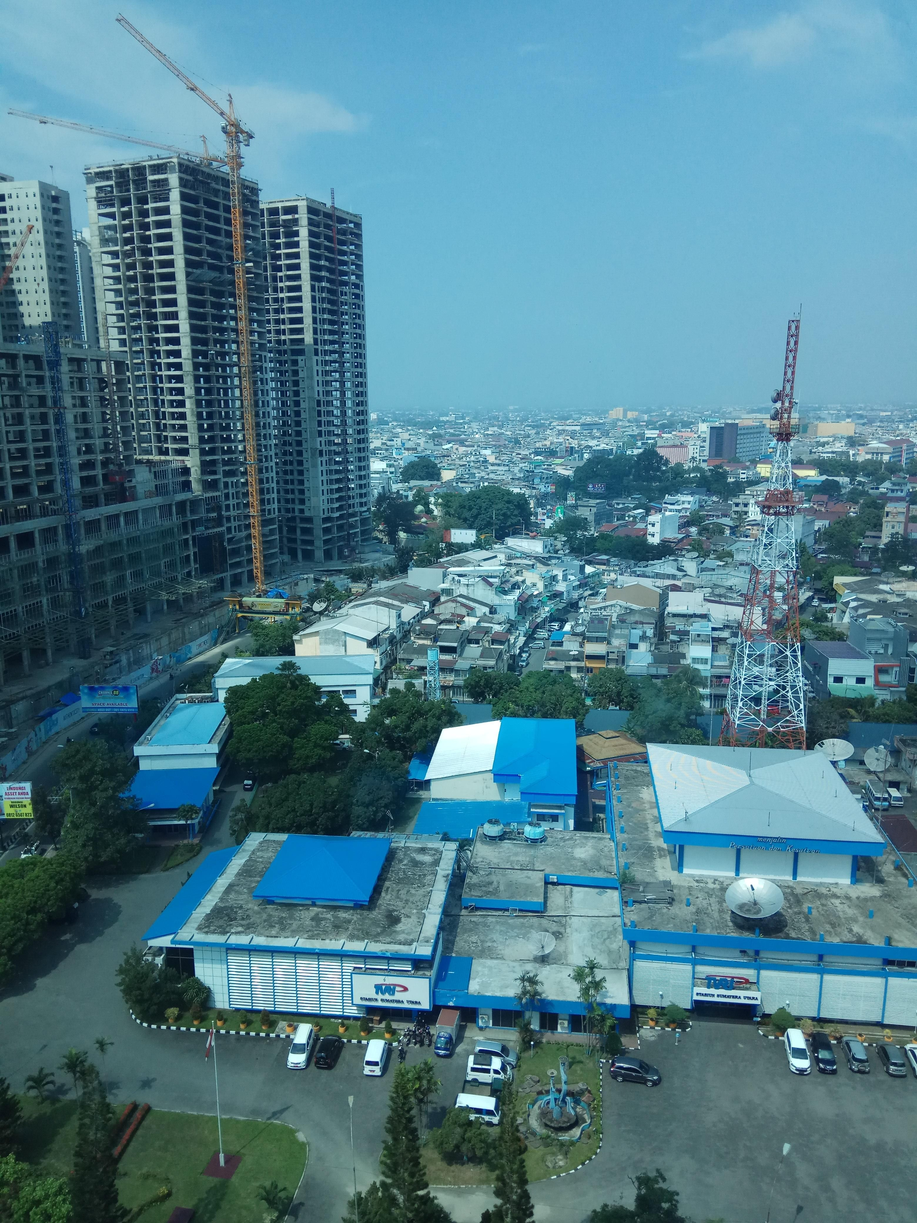 Medan Indonesia from JW Marriot Hotel 15th floor. The new