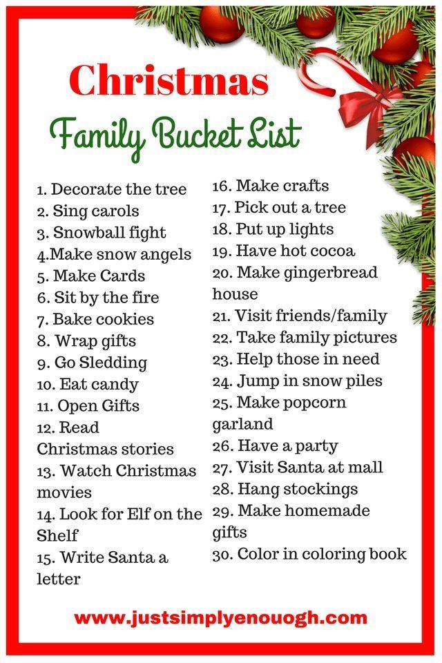 Family Christmas Gift Lists.30 Christmas Family Bucket List Ideas Bucket Lists