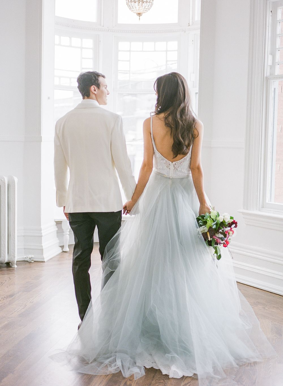 Dusty Blue Wedding Dress with tulle skirt Vintage Velvet Styled