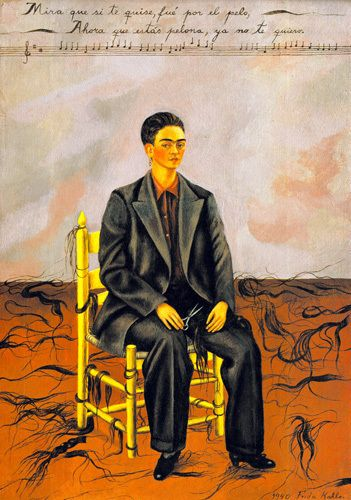 Self-Portrait with Cropped Hair by Frida Kahlo - a