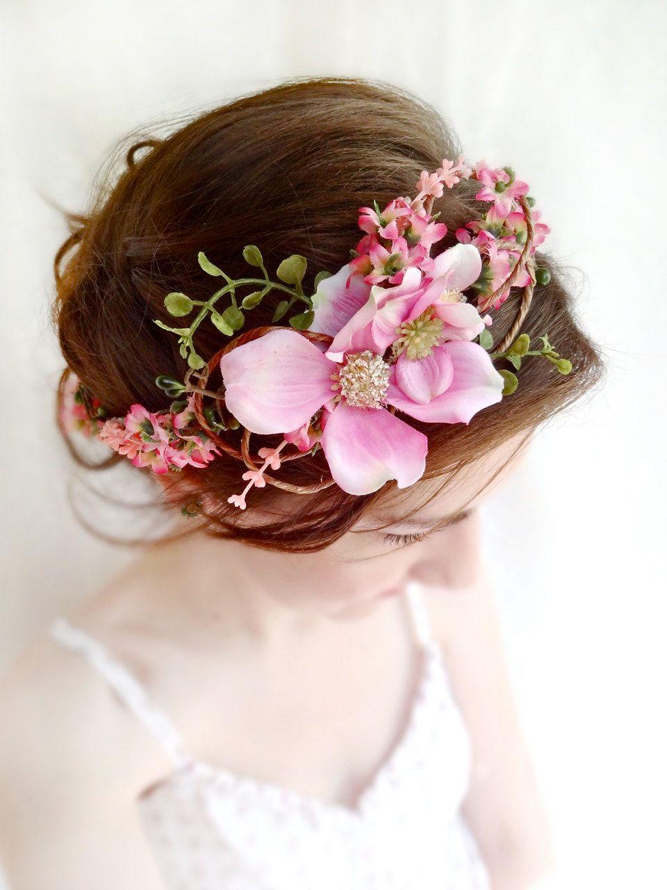 Pink flower crown, floral crown, dogwood flower, bridal headpiece ...