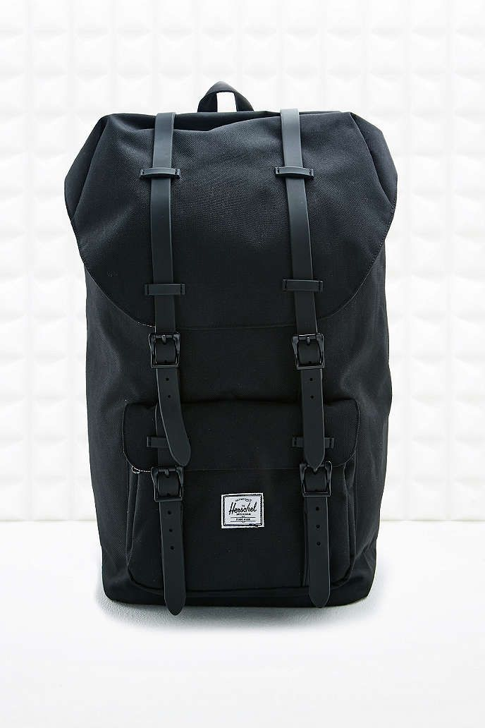 Herschel Supply co. Rubber Strap Little America Black Backpack - Urban  Outfitters af735e5da8