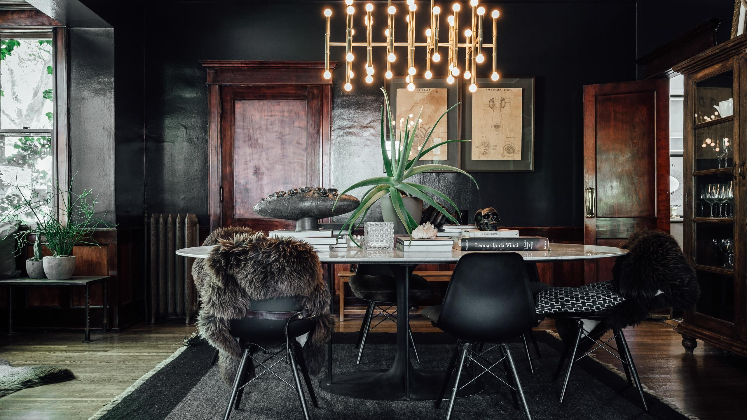 Moody And Modern Interior Updates To A Historic Space This Incredible Space Is Currently Up For G Eclectic Dining Room Dark Dining Room Masculine Dining Room