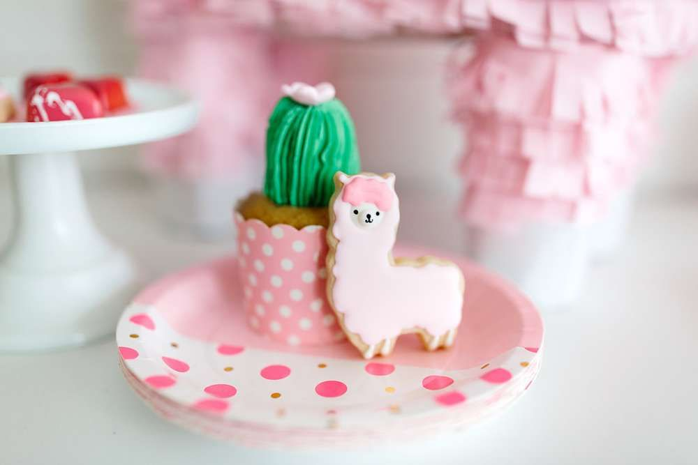 Loving the cactus cupcakes and the cute pink llama cookies at this Valentine's Day!! See more party ideas and share yours at CatchMyParty.com #catchmyparty #valentinesday #cupcakes #cookies