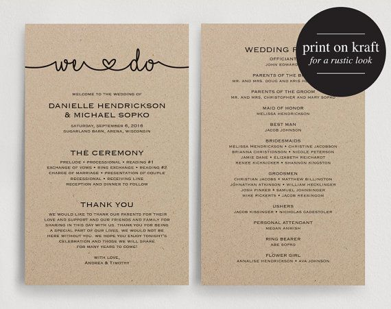 wedding programs instant download printable wedding program