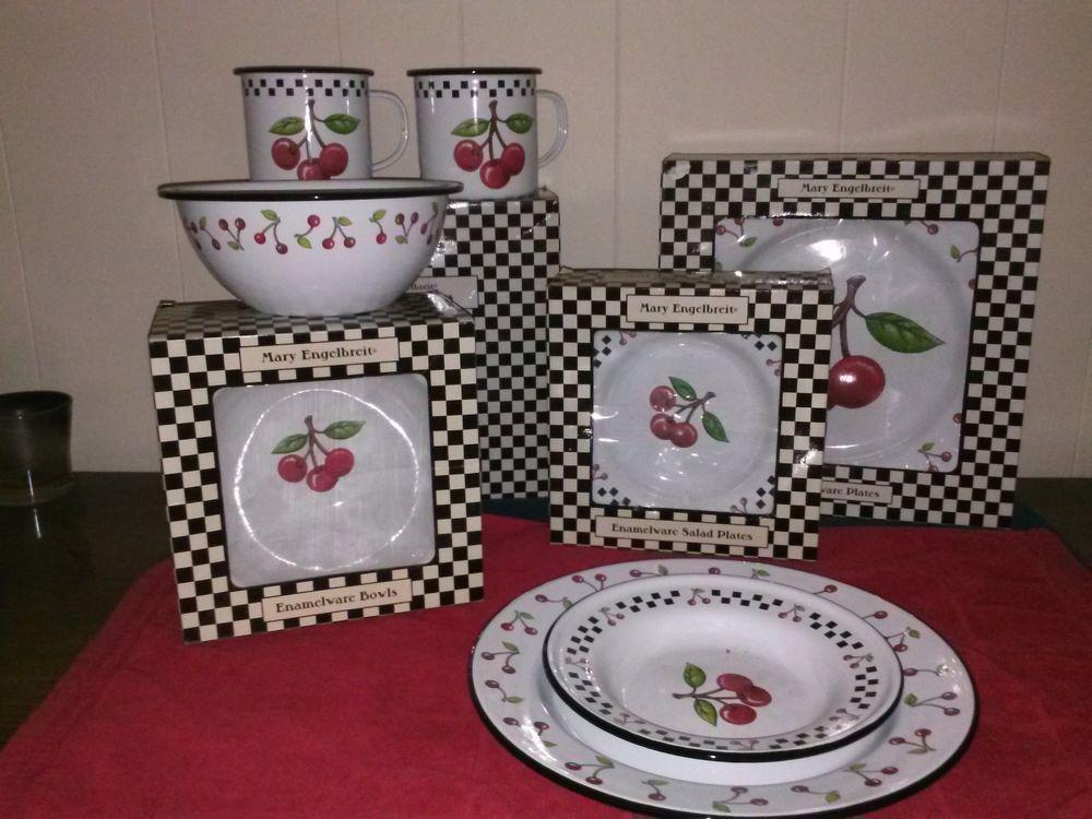 Rare Mary Engelbreit Cherry Dish Set Of 4 16pcs Mary