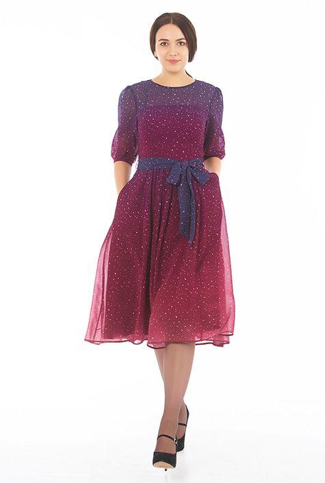 5f71d5b1d72 I  3 this Ombre star print georgette midi dress from eShakti