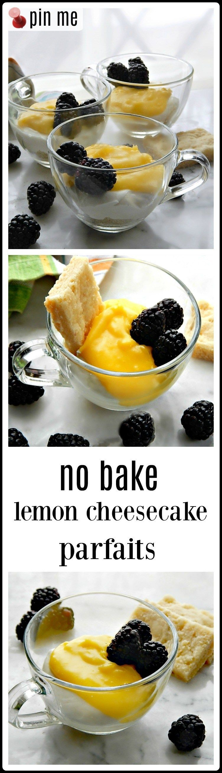 Easy Elegant No Bake Lemon Parfait No Bake Lemon Cheesecake Parfaits are creamy  dreamy deliciousness A base of shortbread crumbs grounds the lemony cheesecake and the to...