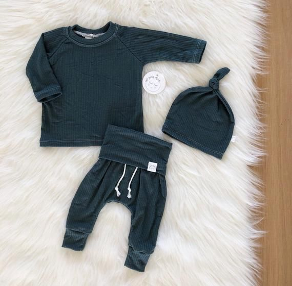 Photo of Baby boy teal blue thermal outfit, baby boy clothes, baby sets, take home outfit, baby shower gifts.