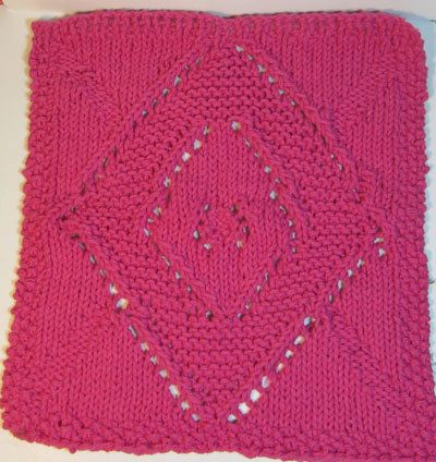 Cotton Dish Cloth Knit Is Diamond Pattern Knittingsewing And