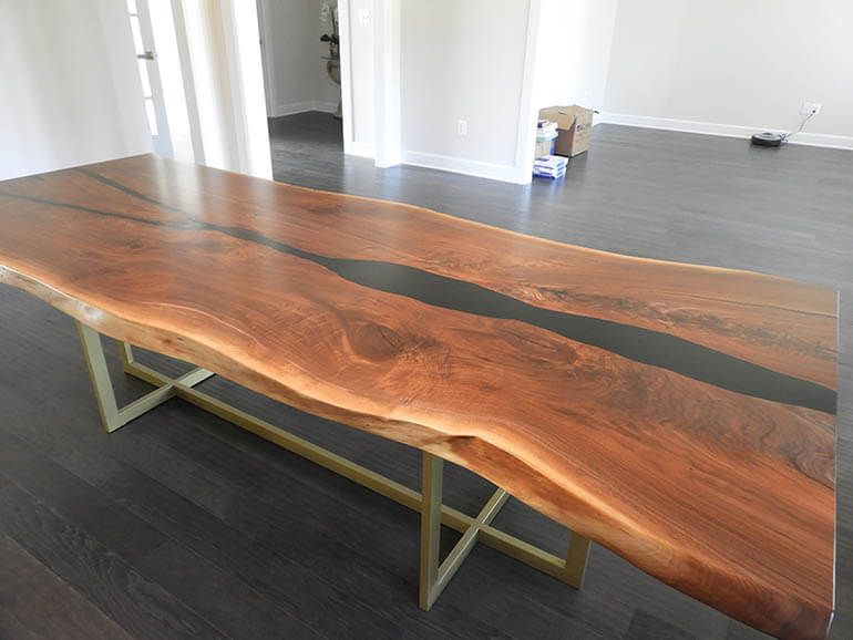 Black Epoxy Resin Walnut Table Resin Furniture Dining Table Live Edge Dining Table