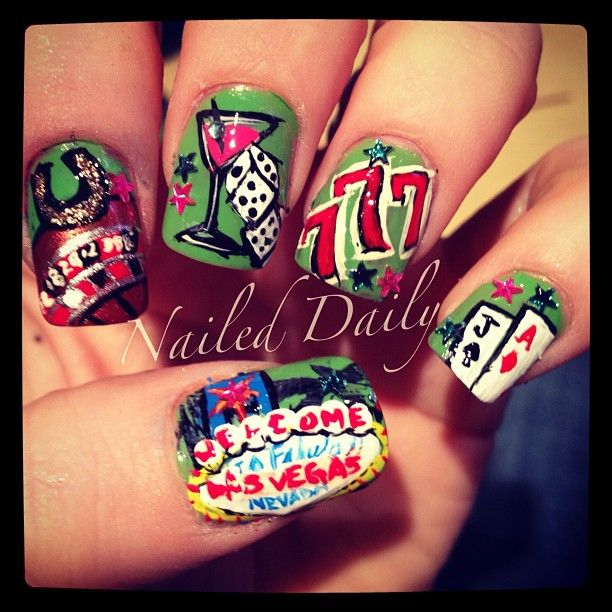 I want the welcome to Las Vegas part - Poker Las Vegas Nail Art Nail Fun Pinterest Vegas Nail Art