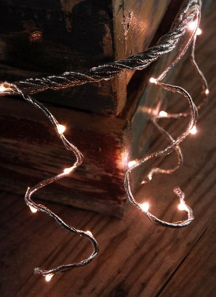 Led Garland Battery Operated 60 Warm White Lights Silver Cord 6 Foot Long 14